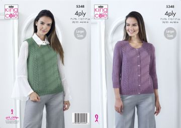 King Cole 4 ply Ladies Slipover and Cardigan Knitting Pattern , 5348